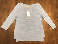CHICO'S *SIZE 0/SMALL/4* GIA BLUE BOATNECK LIGHTWEIGHT PULLOVER SWEATER *NEW*