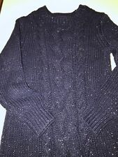 Babygap Girls Size 5T, Navy Lurex Cable Knit Sweater Dress, New