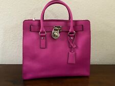 Michael Kors Hamilton Satchel Bag with Silver Chain - Fuschia