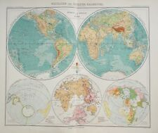 Map of World Hemisphere. Physical.1909 Original. Stieler. Perthes.  Antique