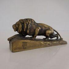 Statuette figurine de lion en bronze montée sur socle art-déco