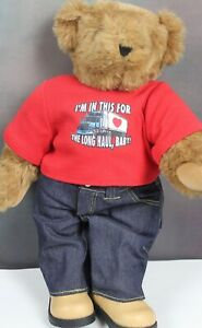 "💘 Vermont Teddy Bear Valentine's Day Trucker Outfit USA Made Jointed 17"" Tall"