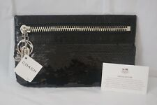 COACH POPPY SPECIAL EDITION NWT BLACK SEQUIN / LEATHER  ZIP CLUTCH BAG $148!
