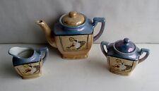 3 Pc Lusterware Set of Creamer and Sugar Teapot Girl Watering Flowers