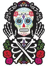 """15"""" día de los muertos 2 lados Azúcar Calavera recorte Halloween Muertos Decoración 0279"""