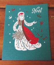 Vtg 1964 Noel Mid Century Modern Silkscreened Brooks Cape Cod Christmas Card