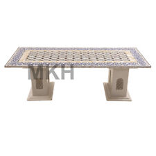 Rectangular Marble Vintage Coffee Table Stone Inlay End Table Top Mid Century