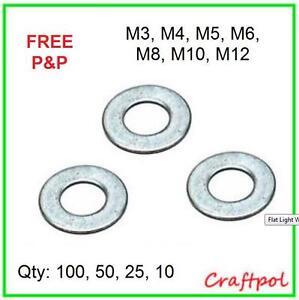 Flat Light Washers - Zinc Plated (M3, M4, M5, M6, M8, M10, M12) BZP