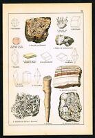 1888 Natrolite, Rocks, Minerals, Antique Geology Print - Schubert