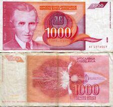 FRJ Nicola Tesla Yugoslavia 1992 1000 Dinar Dinara Yugoslav Wars Banknote