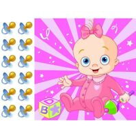 Pin the Pacifier on the Baby girl Shower Game Party Accessory