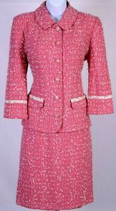 ST.JOHN Collection Womens Knit Pink Ivory Boucle Suit Jacket & NWT Skirt Sz 8-10