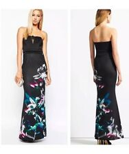 BNWT NEW Lipsy Black Bandeau Floral Print Maxi Dress RRP £75 - Size 10