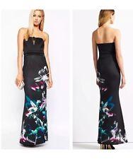 BNWT NEW Lipsy Black Bandeau Floral Print Maxi Dress RRP £75 - Size 10