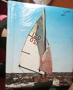 """NEW NIP Vtg 70s Photo Album Retro SAILING BOAT Photo Self-Stick Adhesive 9.5x11"""""""