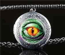 Green Dragon Eye Cabochon Glass Tibet Silver Locket Pendant Necklace