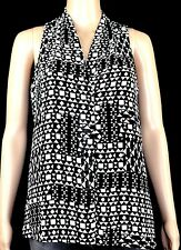 VINCE CAMUTO - Sleeveless Tunic Top Blouse Sz S Black Grey Lined High - Low Hem