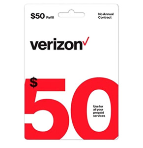 Verizon Wireless- $50 Refill,  Top-Up Airtime Card for Verizon Prepaid Service