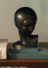 Original FRANKART  Antique Rare Art Deco Woman Sculpture Bust Bookend