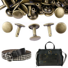 100x Antique Brass Double Round Cap 6/8/10 mm Leather Rivets Studs for Shoes Bag