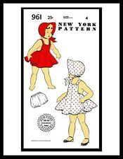 Pattern DRESS FROCK ROMPER Sun Suit New York #961 BABY GIRL Child BONNET Hat ~4~