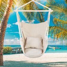 Cotton Canvas Hanging Rope Chair w/ Pillows Beige Outdoor Gard Garden Furniture
