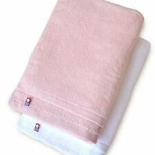 X2 Japanese Imabari Bath Towel Cotton 100% 120 x 60 cm Made in Japan White Pink