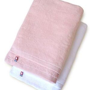 X2 Japanese IMABARI Bath Towel Cotton 100% 120 x 60 cm Made in JAPAN White Pink