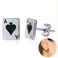 Lucky Spades Ace Poker Cards Stud Earrings Stainless Steel Silver Color Jewelry