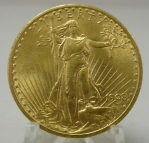 1908 no motto United States US $20 Saint double eagle gold coin #69109