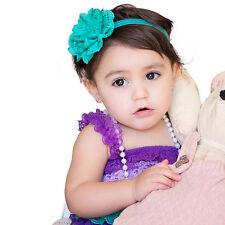 Baby Kid Girl Newborn Headband Flower Elastic Band Headdress Headwear Clips Blue