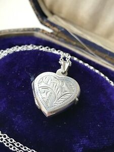 """Vintage 925 Sterling Silver Heart Locket Pendant 20"""" Chain Necklace  (D8F2)"""