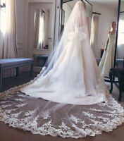 3M Ivory White Cathedral Length Wedding Veil Bridal Accessory Applique With Comb