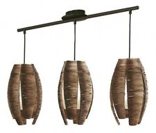 Lampe suspension Lustre Plafonnier Éclairage de salon à 3 branches Marron 54889