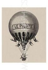 RETRO ART PRINT Le Pilote Hot Air Balloon