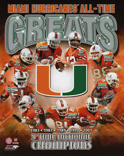 MIAMI HURRICANES All-Time Greats Glossy 8x10 Photo Johnson Reed Lewis Poster