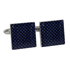 Navy Blue Carbon Fiber Style Cufflinks Gift Boxed Racing Car Graphite Fibre BNIB
