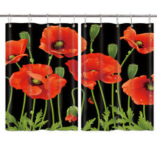 Red Poppy Flower on Black Window Curtain Drapes Short Kitchen Curtains 2 Panels