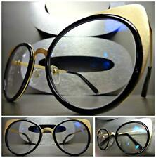 CLASSIC VINTAGE RETRO CAT EYE Style Clear Lens EYE GLASSES Gold & Black Frame