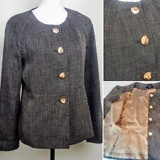 JONES WEAR Womans Blazer Suit Top, Brown Tweed Polyester Buttons Career, Sz 6