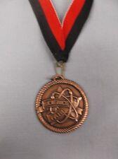 "bronze science fair medal 2"" dia red/black neck drape"