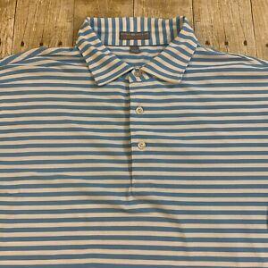 Peter Millar Summer Comfort Blue Performance Polo Golf Shirt Large