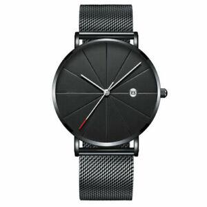 Trendy Men Ultra Thin Minimalist Watch Slim Strap Stainless Steel Quartz Luxury