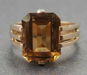 Womens Golden Citrine Vintage Ring 9ct Yellow Gold Fine Jewelry Band Size L 1/2