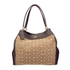 NWT COACH LEXY Classic Canvas Shoulder Leather Fabric Purse Brown Gold F57612