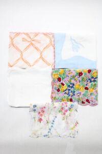 D. Porthault Linen Floral Decorative Pillowcases Pink White Orange Blue Lot 5
