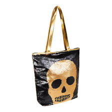 Blue Banana Two Way Sequin Gold Black Alternative Skull Tote Bag/Handbag