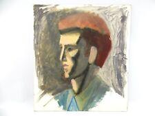 Vintage Portrait Man Profile Impressionist Modern Amateur Pompador Elvis Retro