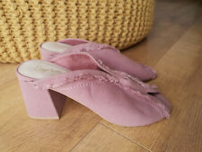 RRP £100 - SEYCHELLES ANTHROPOLOGIE SANDALS Pink Canvas Mules UK 5 / 38 NEW