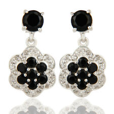 25mm Black Onyx Dangle Earrings Gemstone 925 Silver Womens Fashion Jewelry
